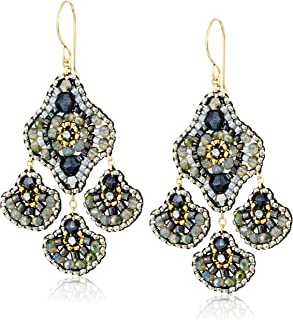 product image for Miguel Ases Synthetic Hematite and Swarovski Fan Drop Chandelier Medium Drop Earrings