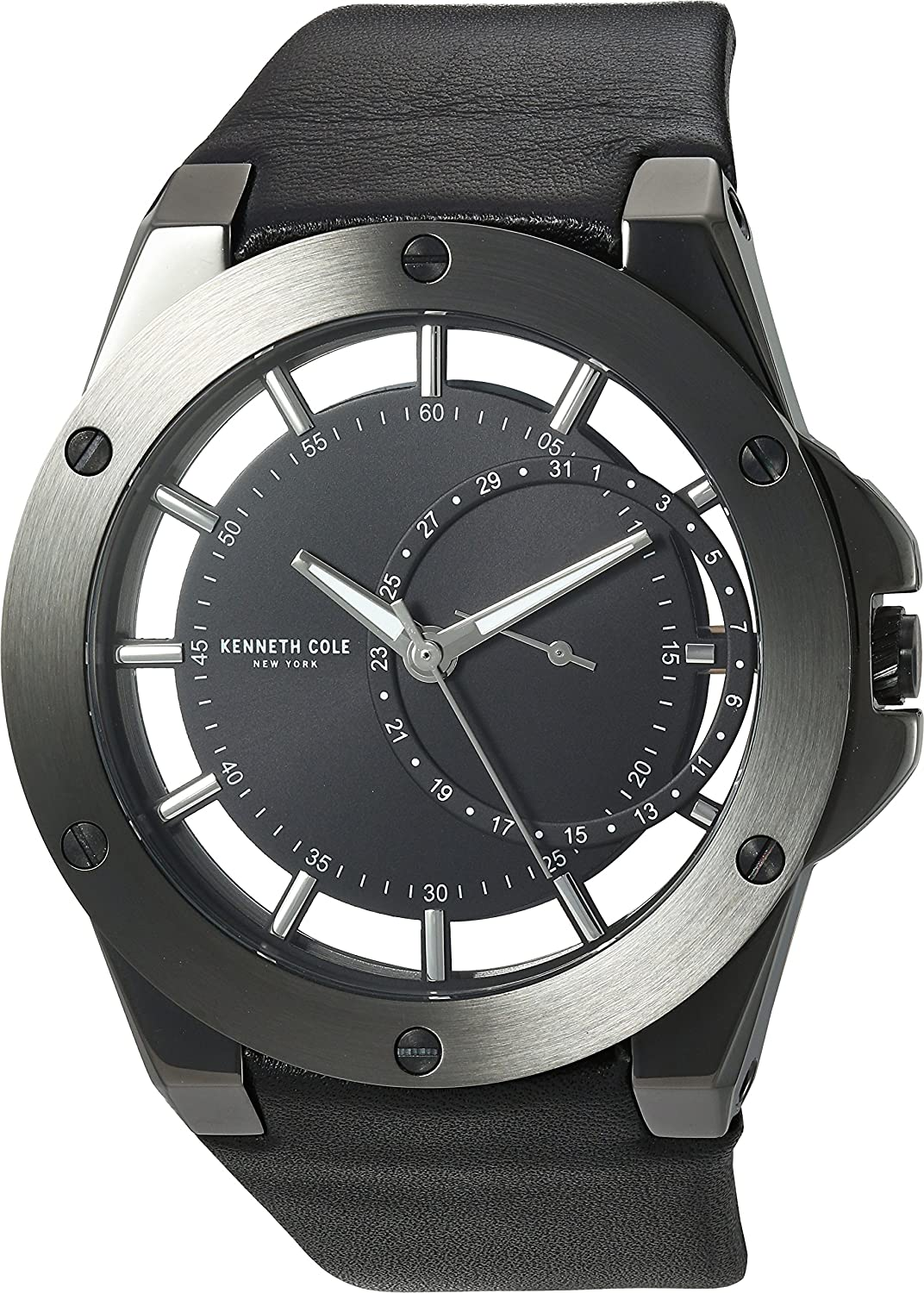 Kenneth Cole New York Men s Transparency Stainless Steel Japanese-Quartz Watch with Leather Calfskin Strap, Black, 29 Model 10030785
