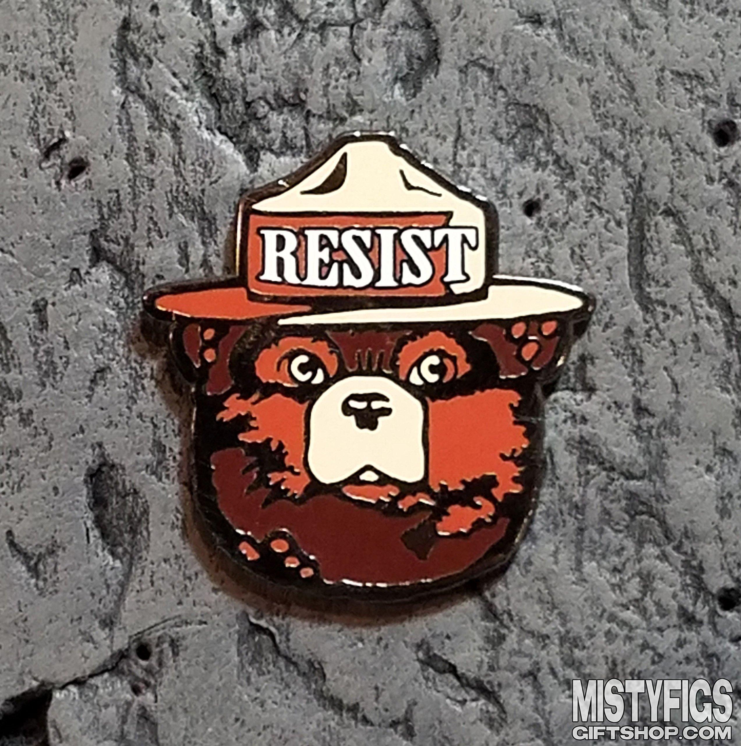 Enamel Lapel Pin - Bear RESIST Alt US Pin