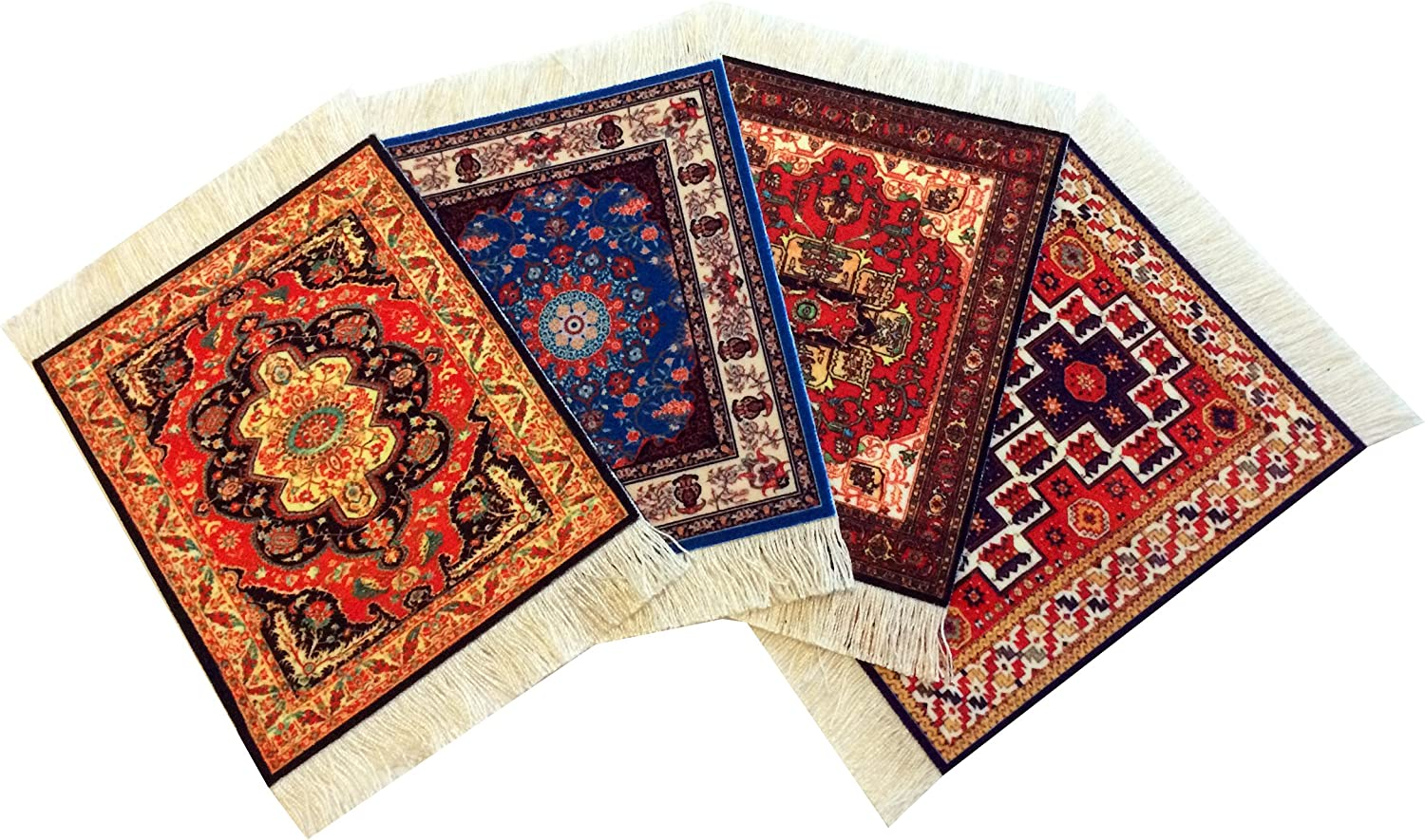 Wovenrugs Set of 4 Rug Table Coasters – Oriental Design Fabric Carpet Drink Mats (Mix-2)