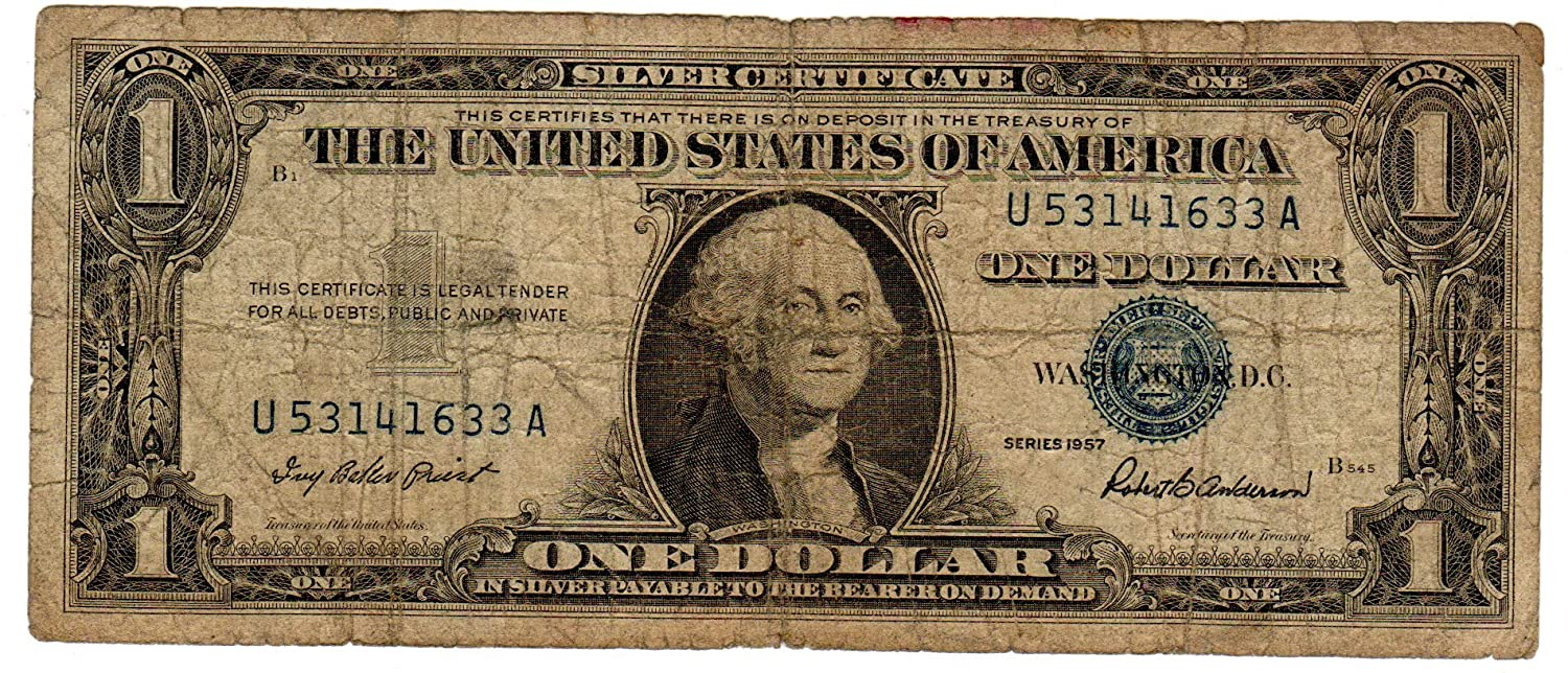 Amazon Paper Money Us One Single 1 Silver Certificate Blue