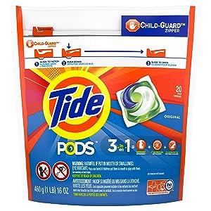Tide PODS Liquid Laundry Detergent Pacs, Original, 20 Count