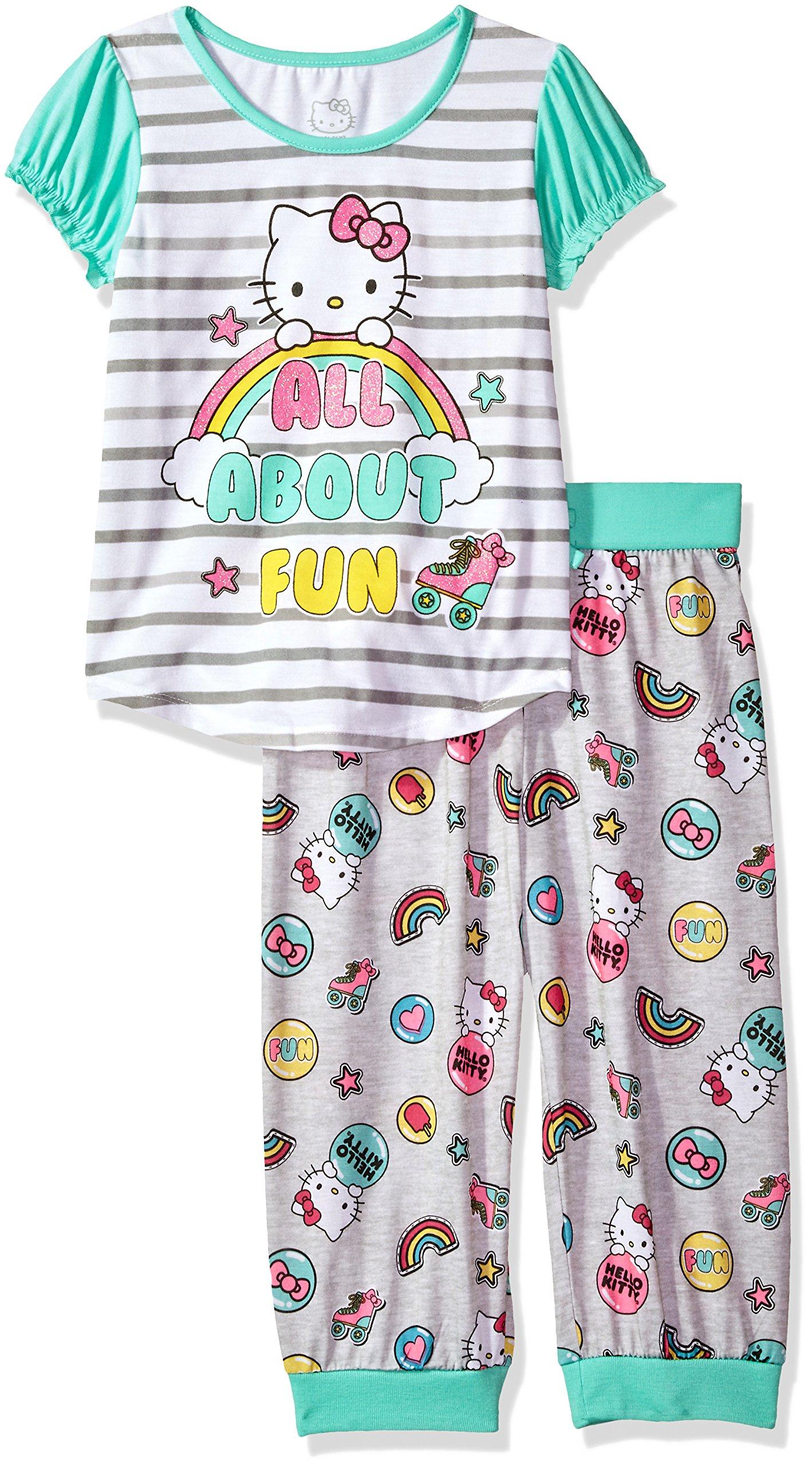 Hello Kitty Big Girls' All About Fun 2 Piece Capri Pajama Set, Teal, XSmall