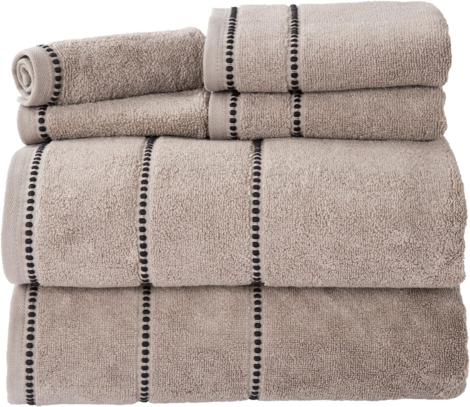 Luxury Cotton Towel Set- Quick Dry, Zero Twist and Soft 6 Piece Set With 2 Bath Towels, 2 Hand Towels and 2 Washcloths By Lavish Home (Taupe / Black)
