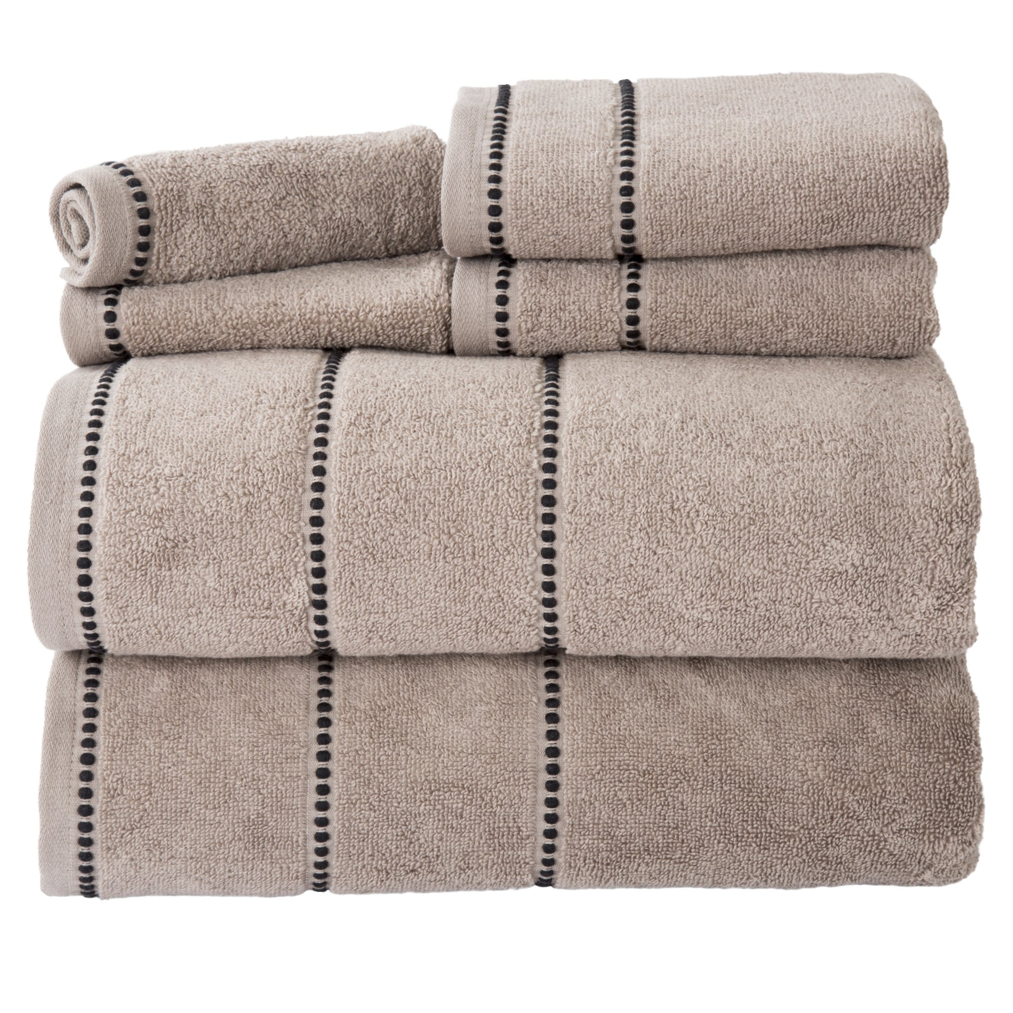 Bedford Home Quick Dry 100Percent Cotton Zero Twist 6Piece Towel Set -Taupe