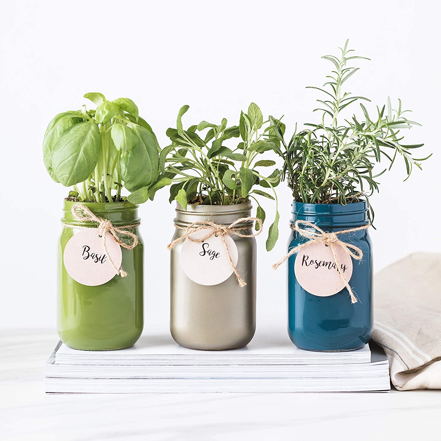 Thoughtfully Gifts, Mason Jar Garden, Grow Your Own Herbs Gift Set, Contains Rosemary, Basil and Sage Seeds with 6 Soil Pods