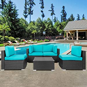 Shintenchi Wicker Rattan Outdoor Patio All Weather Furniture w/Removable Cushions - 5 Pieces Set: Sofa Set & Tea Table [Blue]