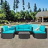 Shintenchi Outdoor Patio Furniture 5 Pieces Sets, All Weather PE Wicker Rattan Patio Conversation Sofa Set Tea Table…