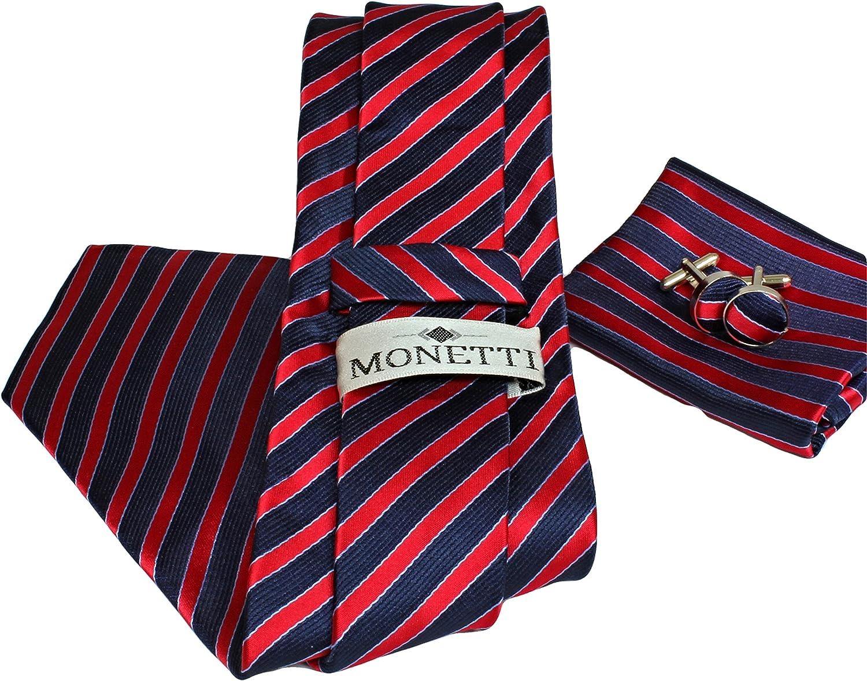 100/% seta MONETTI Set Cravatta rosso blu scuro a strisce nella scatola regalo