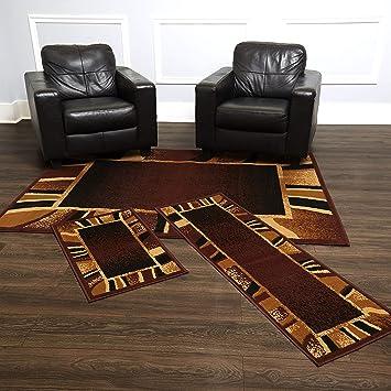 Home Dynamix Konya Contemporary Modern Area Rug 3 Piece Set Border Brown Beige Black Furniture Decor
