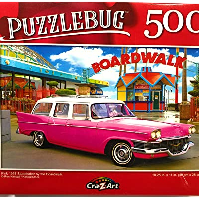 Puzzlebug Pink 1958 Studebaker by The Boardwalk - 300 Pieces Jigsaw Puzzle p 003: Toys & Games