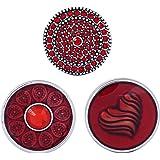 Morella® Damen Click-Button Set 3 Stück Druckknöpfe red life