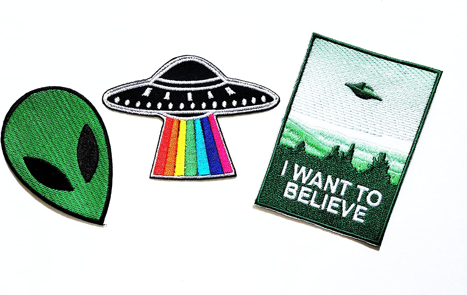Nipitshop Patches Set of 3 I Want to Believe Cute Pretty Green Alien Fantasy Spacecraft Rainbow Patch for Clothes Backpacks T-Shirt Jeans Skirt Vests Scarf Hat Bag Iron On Appliques Embroidered