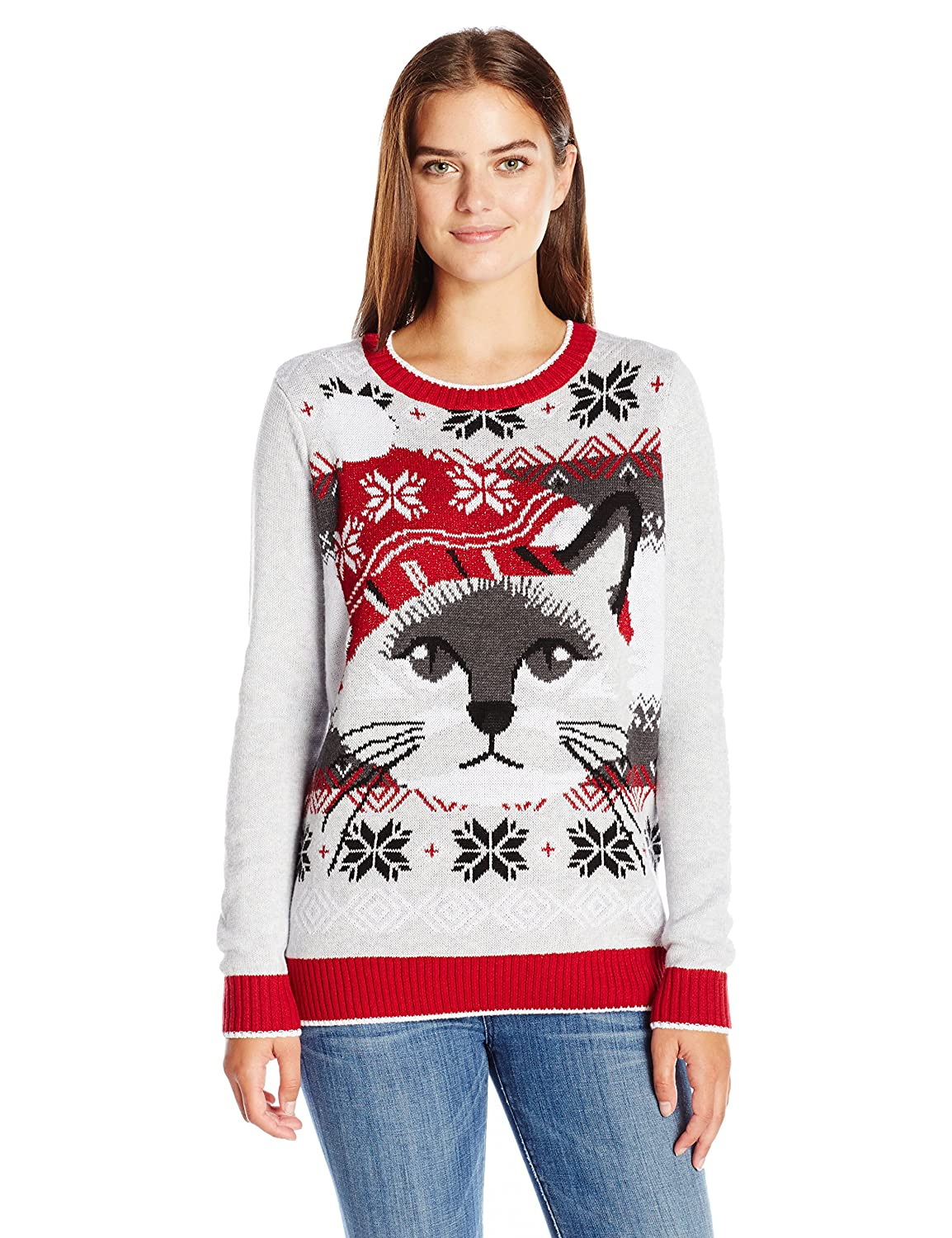 Ugly Christmas Sweater Women\'s Light-up Cat Face at Amazon Women\'s ...