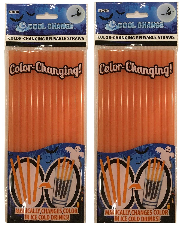 Orange to Black LNI SG/_B00N23G7N6/_US 2 Packages Cool Change Color Changing Straws