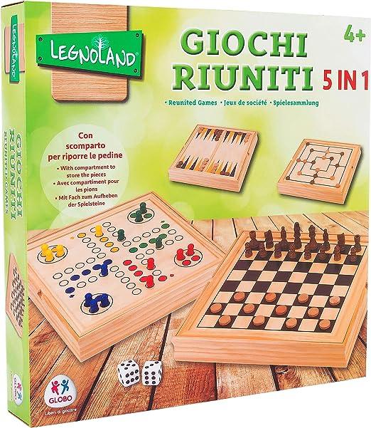 Legnoland- Juegos Reunidos de Madera, 36 x 36 cm (Star 81 37804): Amazon.es: Juguetes y juegos