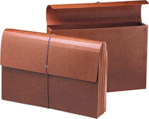 """Smead Expanding File Wallet with Flap and Cord Closure, 3-1/2"""" Expansion, Legal Size, Redrope, 10 per Box (71356)"""