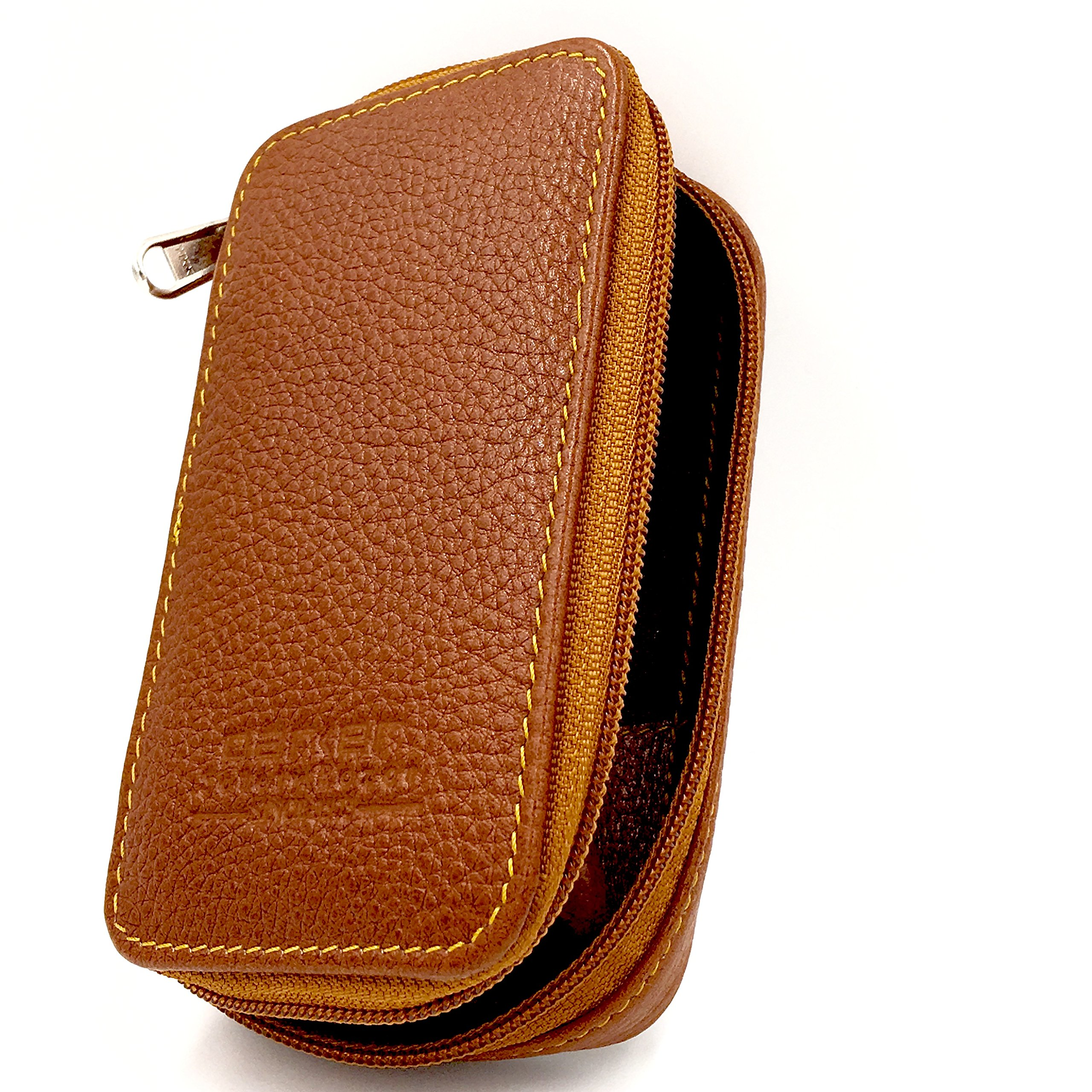 Genuine Leather Double Edge Safety Razor Zippered Travel Case with Compartment for Blades too --- from Parker Safety Razor SADDLE BROWN