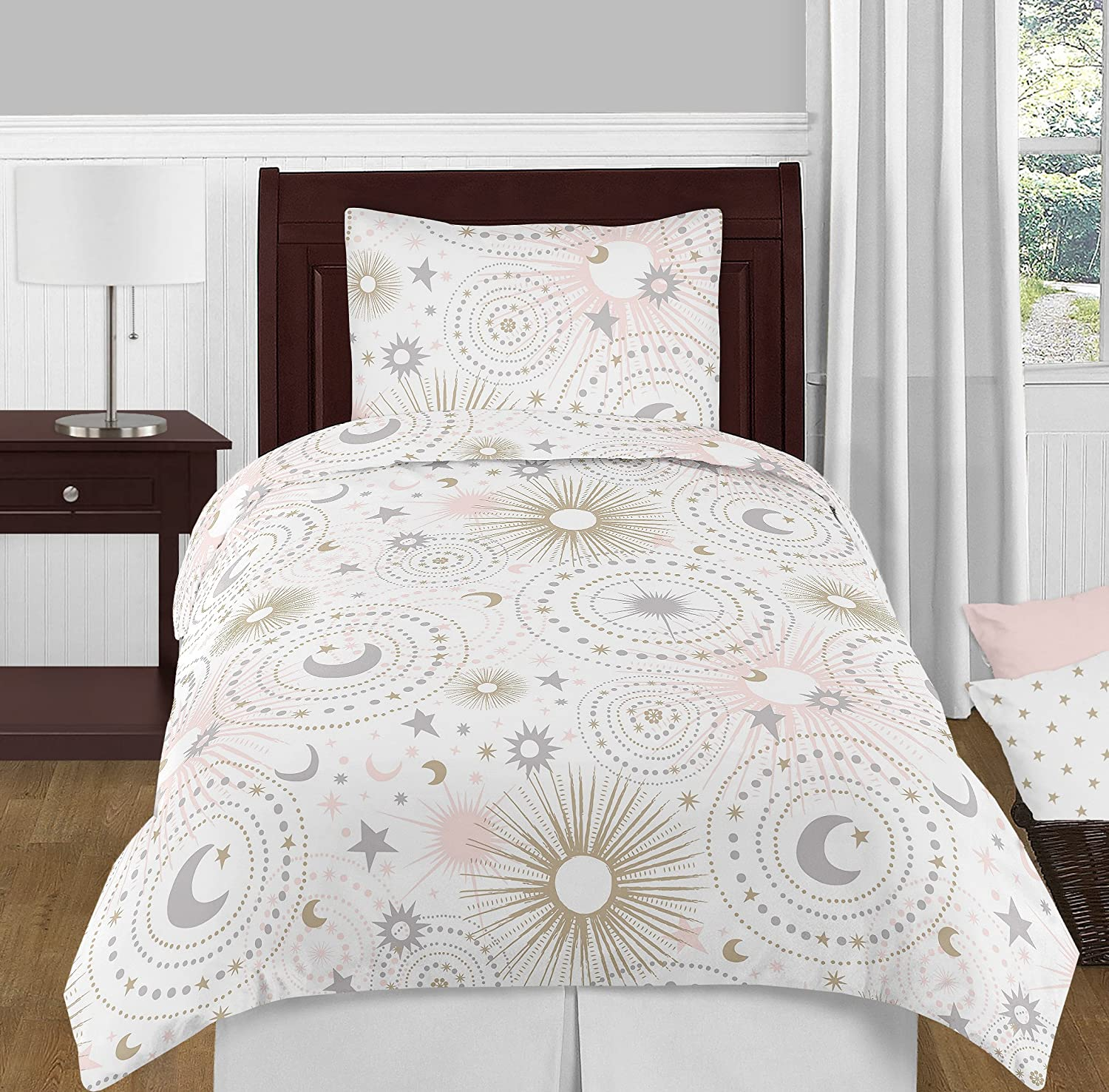 Amazon Com Blush Pink Gold Grey And White Star And Moon Celestial Girl Twin Kid Childrens Bedding Comforter Set By Sweet Jojo Designs 4 Pieces Home Kitchen
