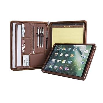 Vintage Konferenzmappe mit Rei/ßverschluss A4 Schreibmappe aus Leder hochwertige Vertretermappe aus Leder f/ür iPad Pro 10.5// iPad Pro 11 mit iPad-Halter,Braun Handgearbeite Gesch/äftsmappe