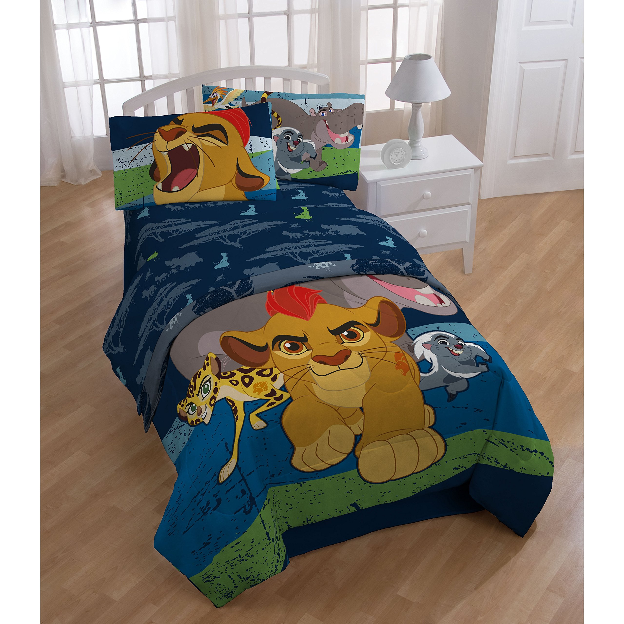 5 Piece Disney Kids The Lion Guard King The Movie Comforter Twin Set, All Over Jungle Friend Bedding, Multi Characters Kion Bunga Badger Fuli Cheetah Beshte Hippo Themed Pattern Blue Green Orange Grey