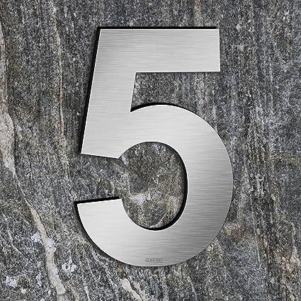 qobobo® Número Casa 5 Cinco Signo Vivienda Calle de 304 Acero Inoxidable Cepillado , 200mm
