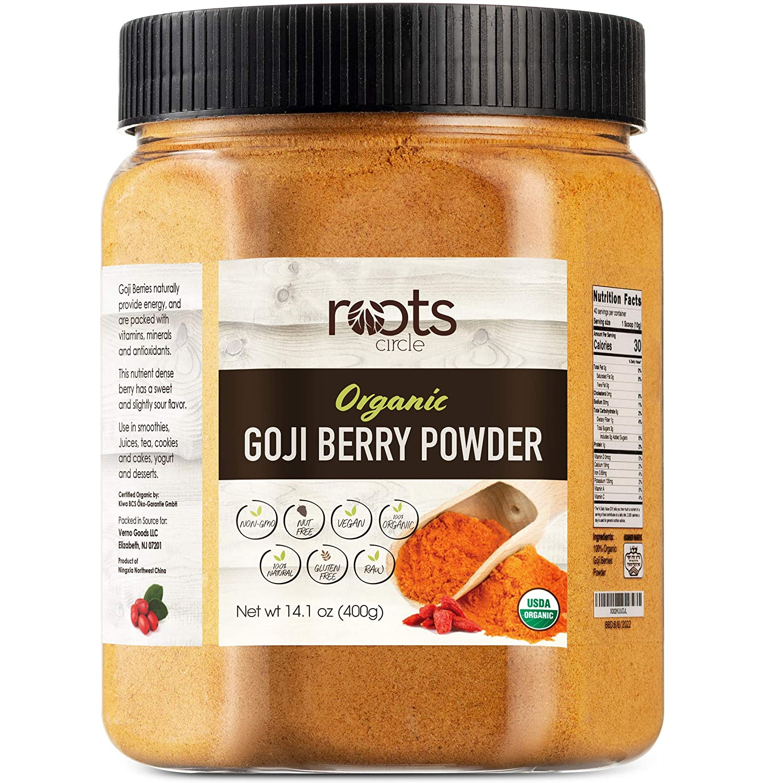 Roots Circle USDA Organic Goji Berry Powder   Bulk Supply of Goji Berry Fruit Superfood   Naturally Rich in Antioxidants to Support Healthy Skin & Energy   Natural, Vegan, Non-GMO, Kosher   14.1oz Jar