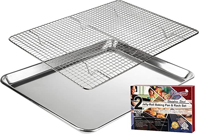 "KITCHENATICS Jelly Roll Aluminum Cookie Pan Tray with 304 Stainless Steel Cooling, Baking & Roasting Wire Rack Set- 10.6"" x 15.6"" Heavy Duty Quality, Oven Safe,Nontoxic"