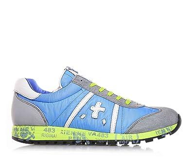 PREMIATA - Grau-hellblaue Sneakers mit Schnürsenkel, aus Wildleder und  Stoff, grüne Schnürsenkel 1e550484f7