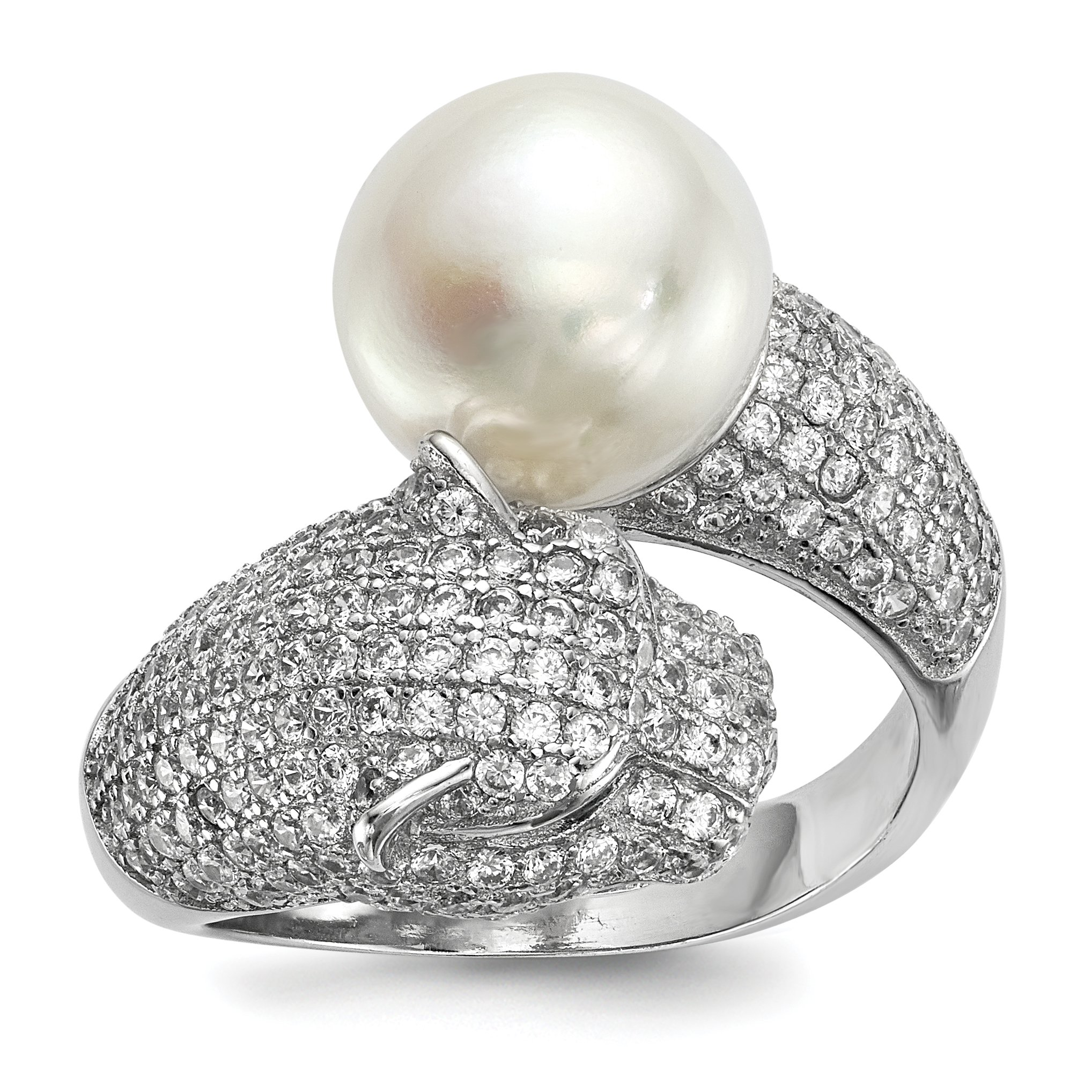 ICE CARATS 925 Sterling Silver 11mm White Freshwater Cultured Pearl Cubic Zirconia Cz Panther Band Ring Size 8.00 Fine Jewelry Gift Set For Women Heart