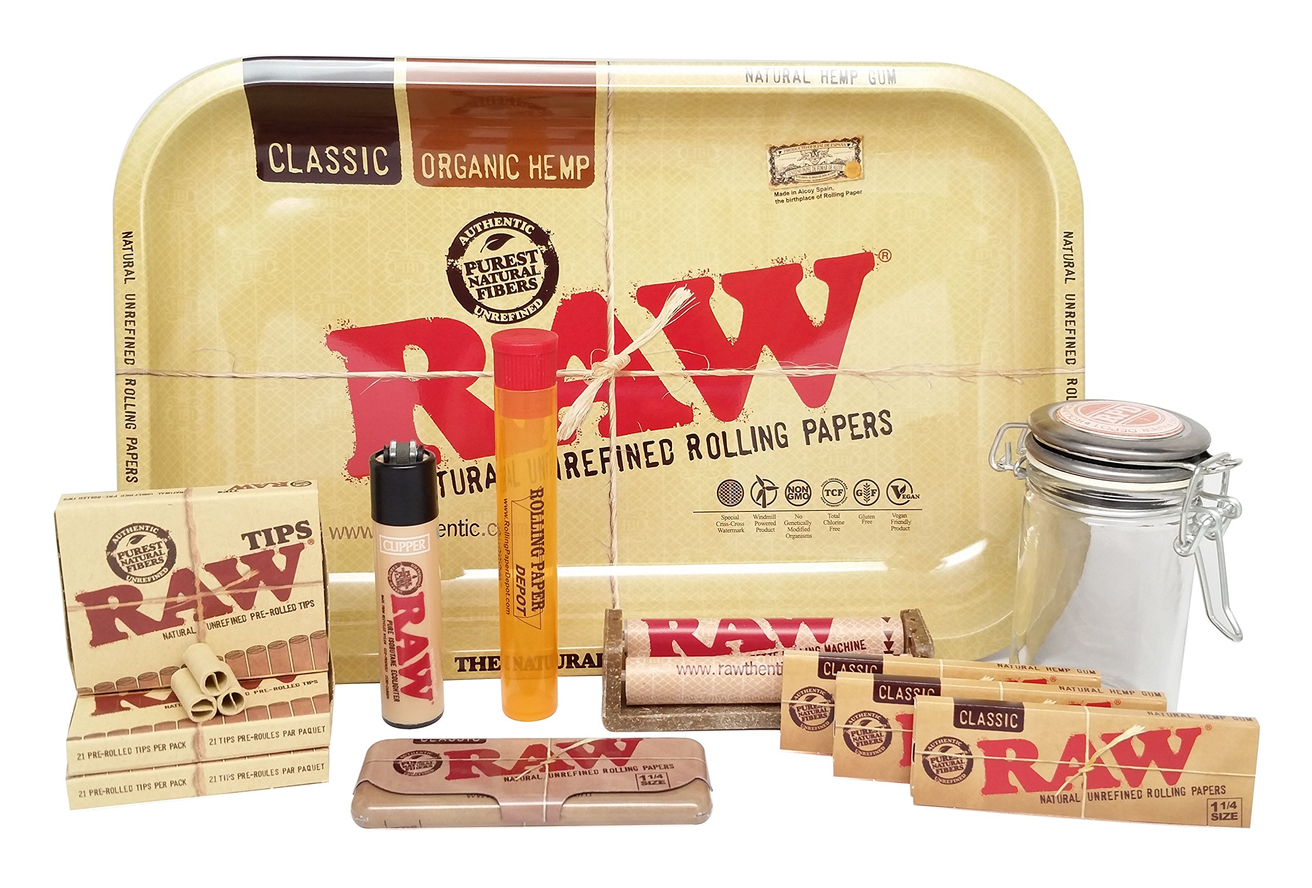 Bundle - 12 Items - RAW Tray 1 1/4 Sampler with RPD Stash Jar and RPD Doob Tube by RAW, RPD
