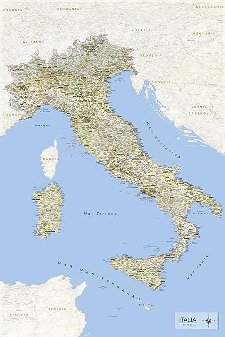 Cartina Geografica Fiumi Italia.Empireposter Carta Geografica Italiana In Formato Maxi 61 X 91 5 Cm Con Nomi Di Comuni Ee Informazioni In Lingua Italiana