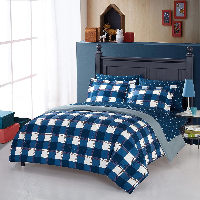 5 Piece Boys Blue Hunter Plaid Comforter Queen Set, Red Lodge Cabin Themed Bedding Sports Bed In Bag Checked Print Madras Plaid White Tartan Checkered Lumberjack Glen Check Horizontal Vertical Stripe