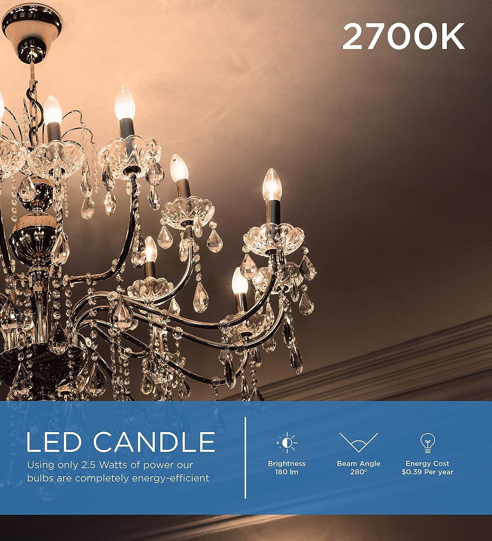 35-Watt Equivalent Viribright LED Non-Dimmable B11 Candle Light Bulb 180 Lumen 2.5-Watt Pack of 12 E12 Base 2700K Warm White