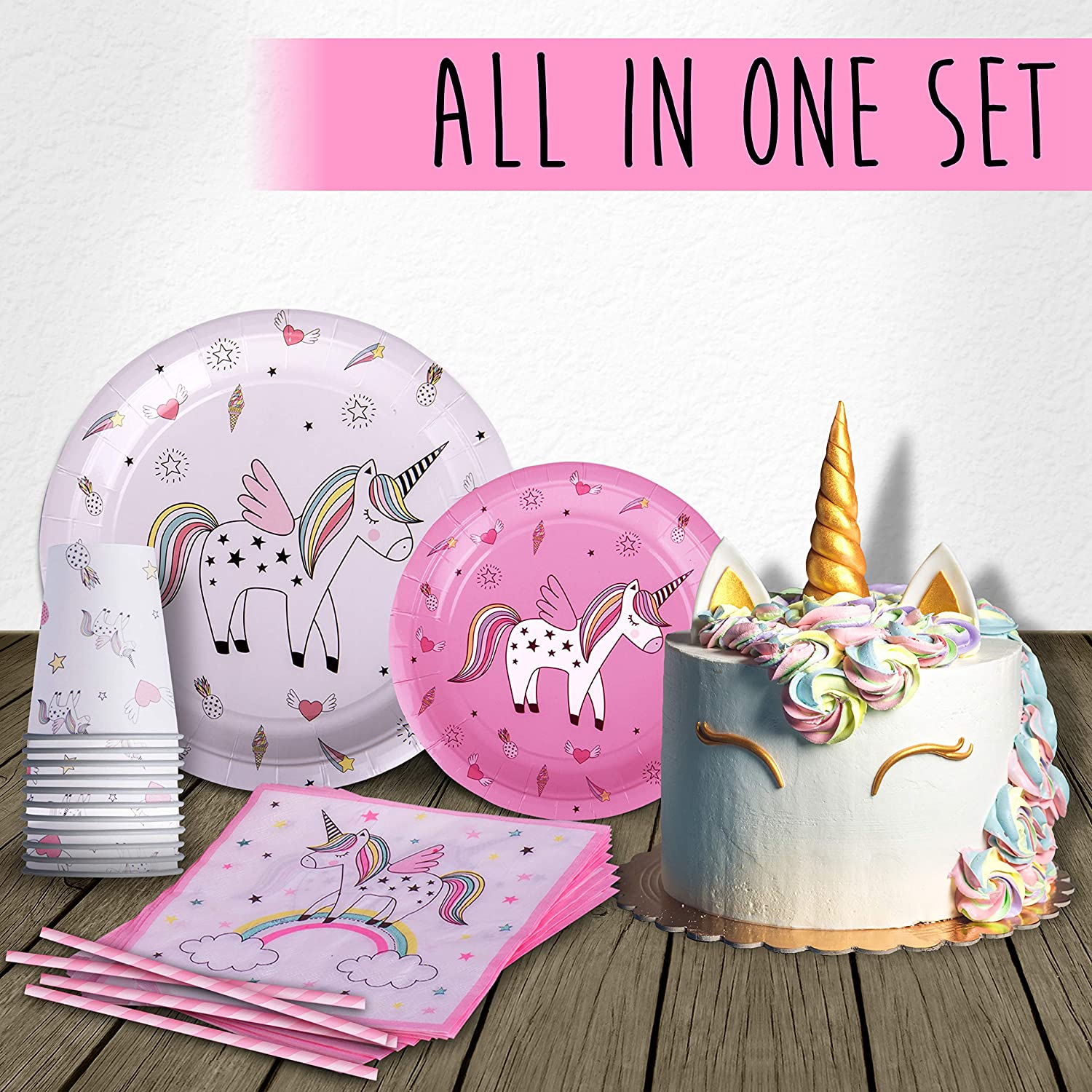 Plates Unicorn /& Rainbows Let/'s Party Partyware Napkins and Balloons Cups