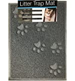 Quality Gray Cat Litter Trap Mat, Non-Slip Backing, Dirt Catcher, Soft on Paws, Easy to Clean