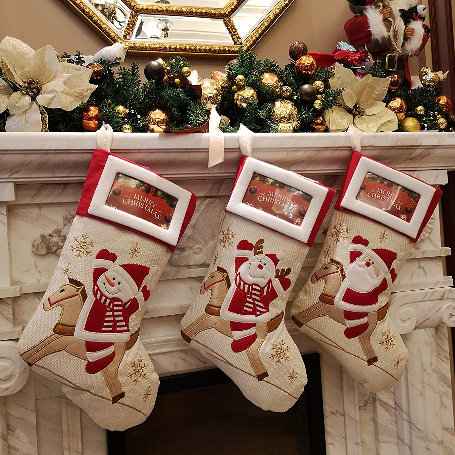 Reindeer 1 Bstaofy Lovely Christmas Stockings Set of 3 Santa Snowman Xmas Character 3D Plush Linen Hanging Tag Knit Border