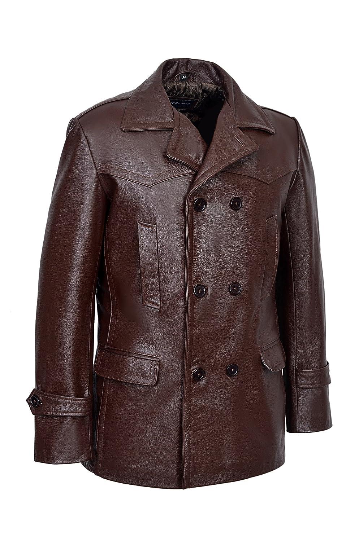 Men/'s KRIEGSMARINE FUR COLLAR German Jacket Pea-coat Real Cowhide Leather Brown