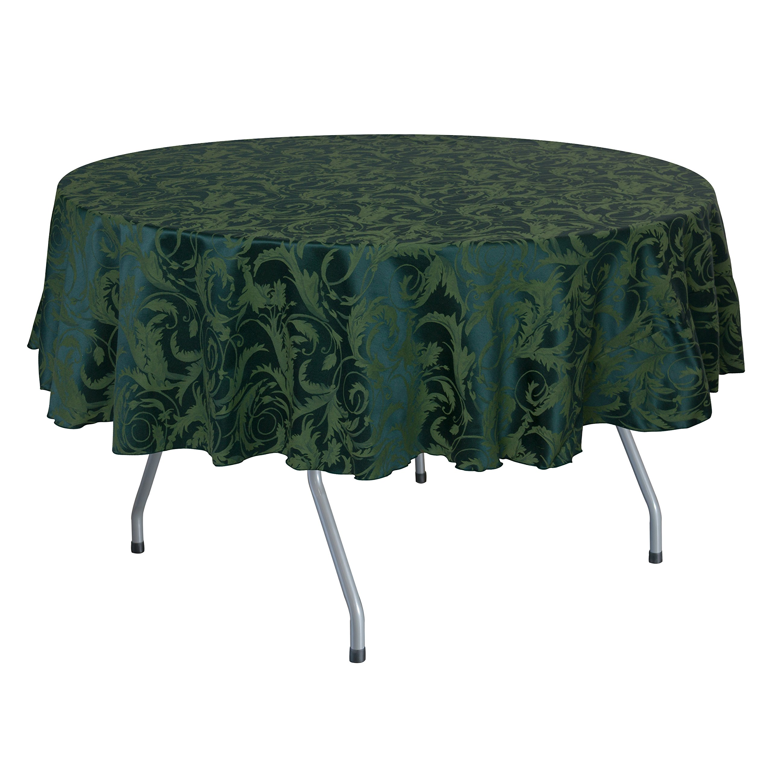 Ultimate Textile (5 Pack) Damask Melrose 60 x 120 Inch Oval Tablecloth - Home Dining Collection - Floral Leaf Scroll Jacquard Design, Hunter Green