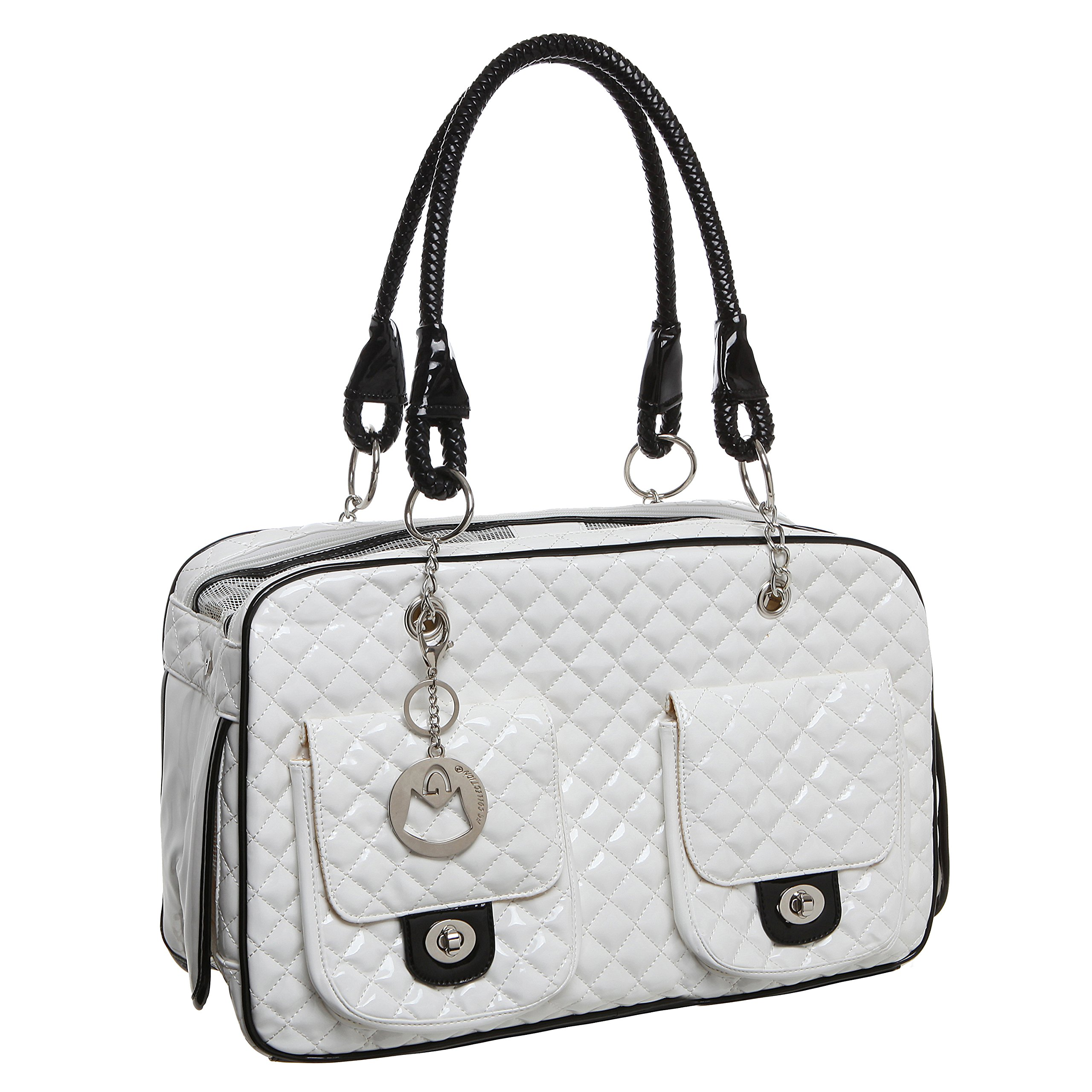 MyGift MG Collection White Quilted Designer Inspired Faux Patent Leather Dog & Cat Pet Carrier Tote Handbag