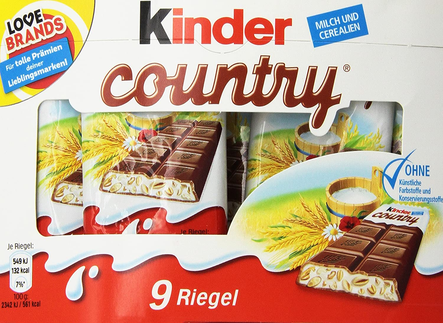 Kinder Country Milk Chocolate with Rich Milk Filling (9s ...