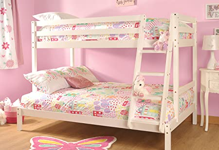 Comfy Living Triple Durleigh Wooden Bunk Bed 3ft & 4ft With Kerri ...