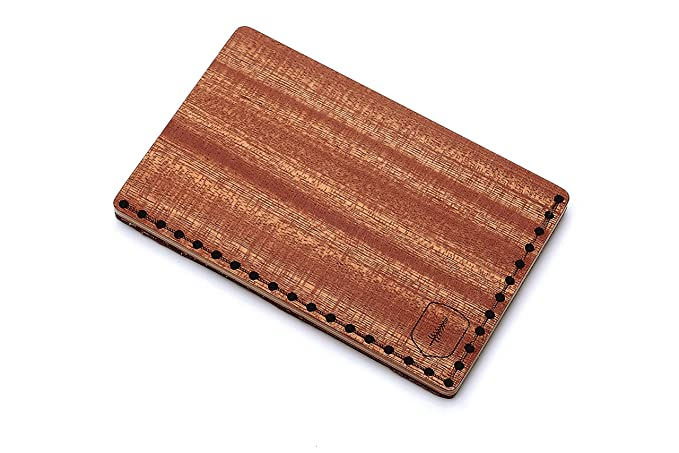 Tarjetero de piel y madera Red Note – tarjetero de cuero para hombre – tarjetero para