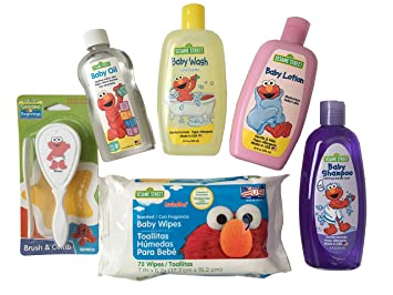 Sesame Street Elmo Baby Care Set - 6 Piece Bundle Includes Baby Shampoo, Baby Wash