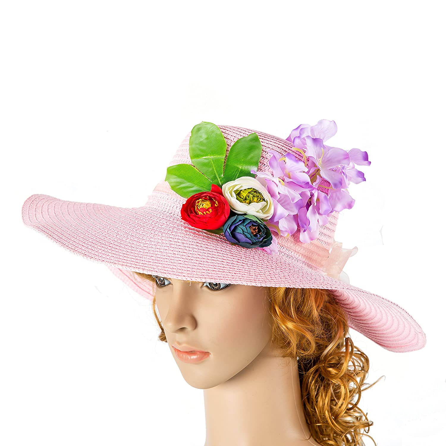 Women Hat powder pink Hat with Real Touch Flowers rose Kentucky Derby Hat Party Summer Hat Women Hat