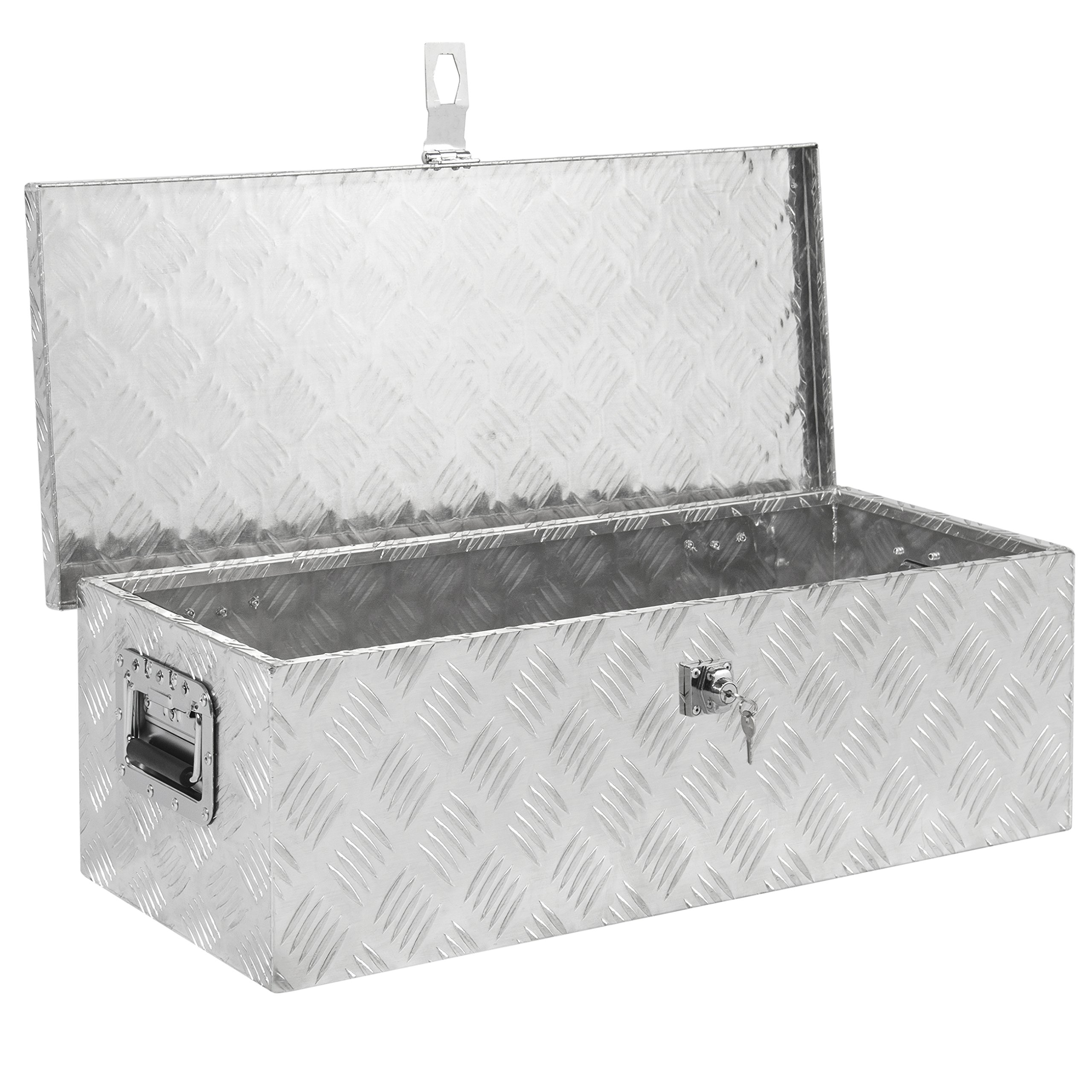 Best Choice Products 30in Aluminum Camper Tool Box w/ Lock and 2 Keys - Silver