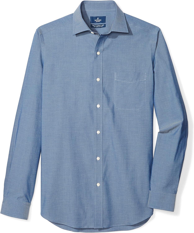 Amazon Brand - Buttoned Down Men's Tailored Fit Spread-Collar Stretch Non-Iron Dress Shirt Blue (Denim Blue)