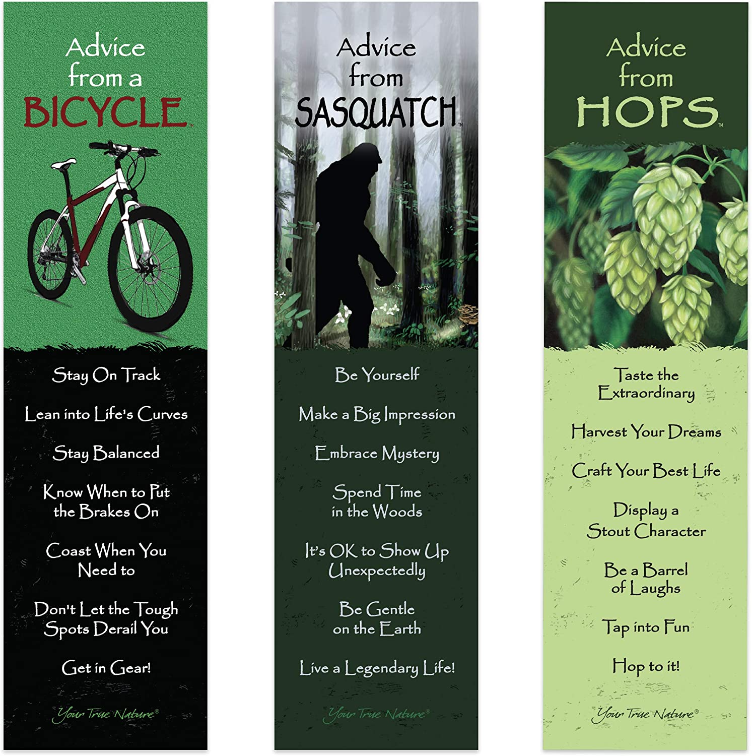 Advice from Nature 3 Bookmark Hipster Set - Bicycle, Hops, Sasquatch by Your True Nature