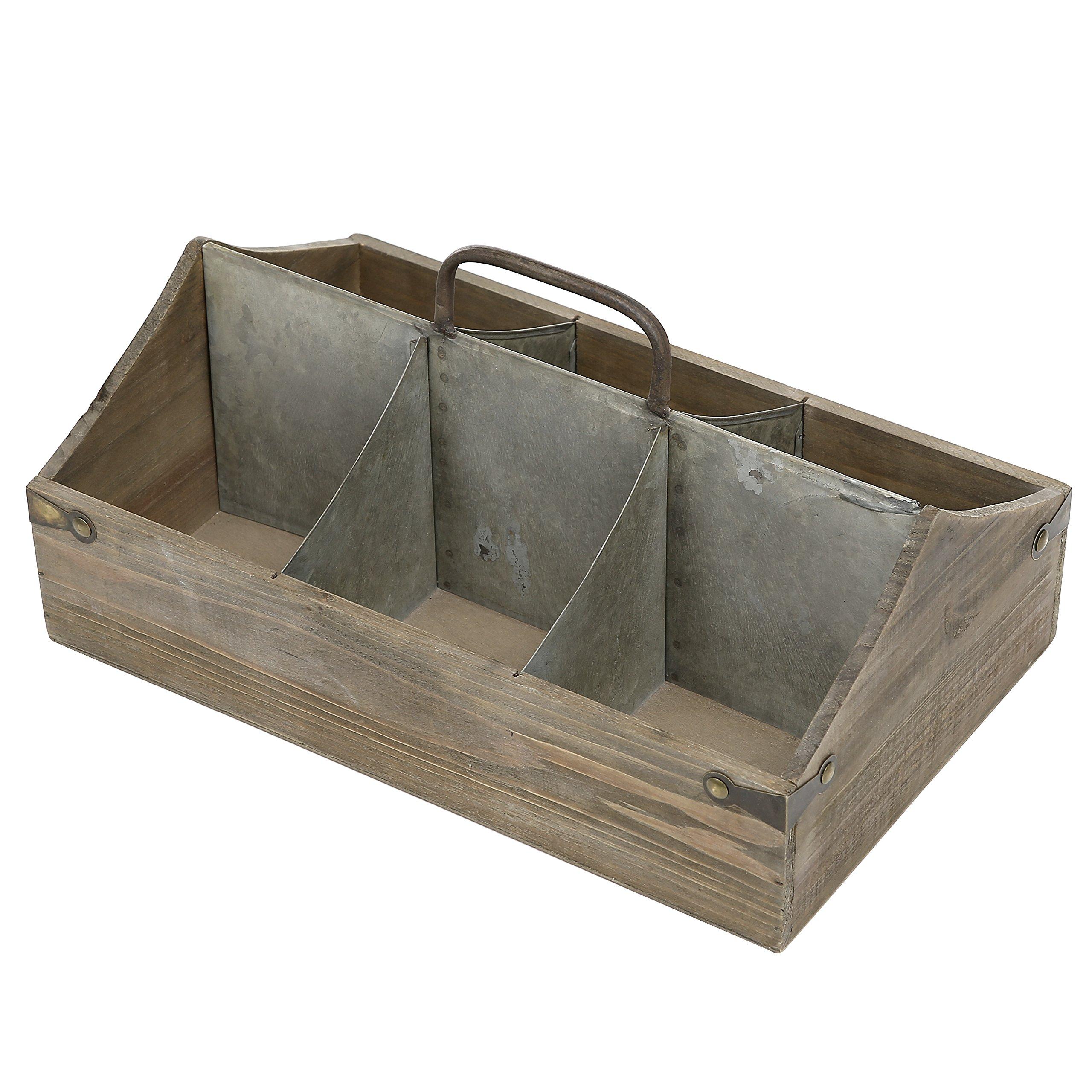 Vintage Wood Organizer Caddy, Decorative Storage Crate with Galvanized Zinc Metal Dividers & Handle