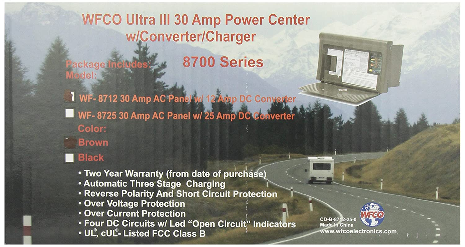 91nOOm vATL._SL1500_ amazon com wfco wf 8712 p brown 12 amp power center automotive wfco 8712 12 amp wiring diagram at gsmportal.co